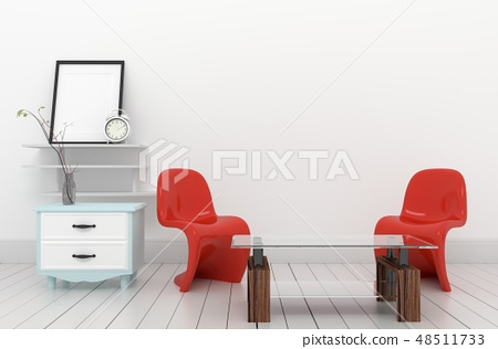 Interior Design red armchairs and plants 48511733