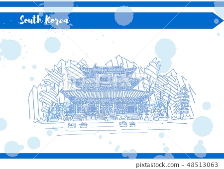 South Korea postcard with blue blots in sketch 48513063