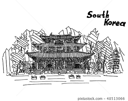 sketch of south korea with an inscription drawing 48513066