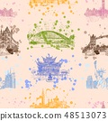 world sights seamless pattern background vector  48513073