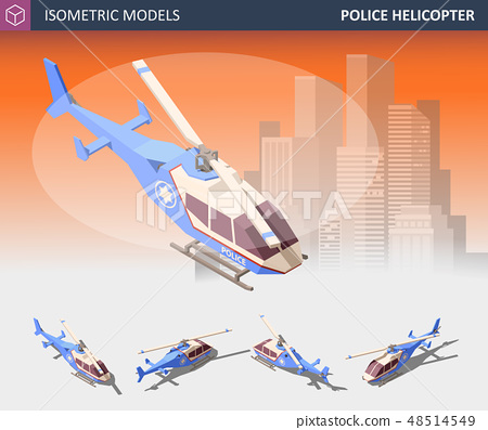 Isometric Police Helicopter Set. Police Transport Isolated on White Background. 48514549