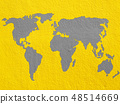 world map on  yellow cement wall 48514669
