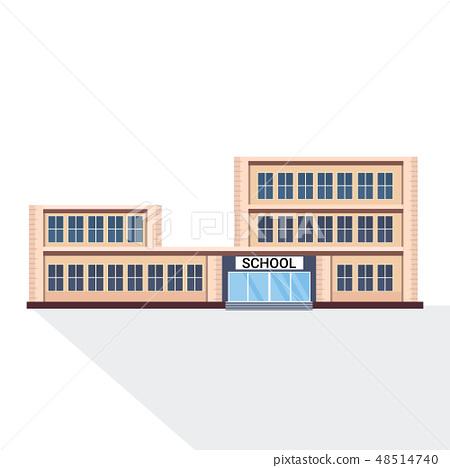 school building exterior education concept white background flat 48514740