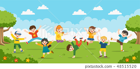 Happy children are jumping on the park. 48515520