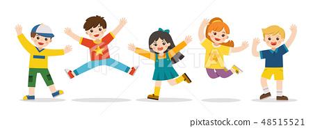 Children's activities. kids jumping together. 48515521