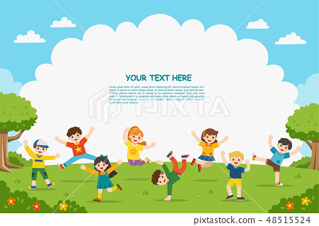 Happy children are jumping on the park. 48515524