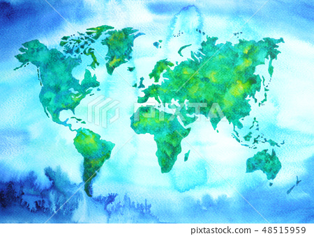 world map blue green watercolor painting on paper 48515959