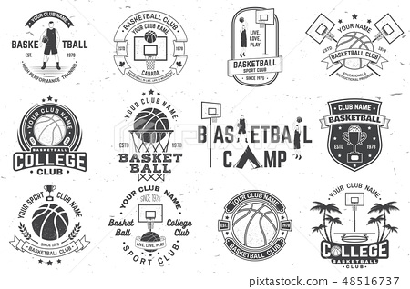 Set of basketball club badge. Vector. Concept for shirt, print, stamp or tee. Vintage typography 48516737