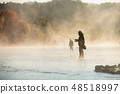 Men fishing in river with fly rod during summer morning. 48518997
