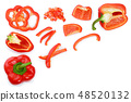 red sweet bell pepper isolated on white background with copy space for your text. Top view. Flat lay 48520132