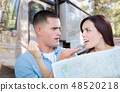 Young Couple Holding Map In Front of New RV 48520218