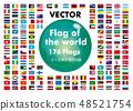 世界国旗(广场,广场)| 176个国家的旗帜按字母顺序排列|向量数据 48521754