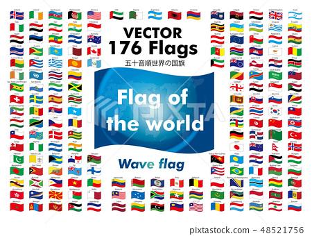世界國旗(閃爍的旗幟·波旗)| 176個國家的旗幟按字母順序排列|向量數據 48521756
