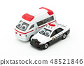 Police car with eye seal and ambulance: wiggly-eyed police car & ambulance 48521846
