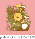 Vector set of cute forest animals , jungle 48523320