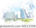 High-rise apartment in Yokohama watercolor style 48523596