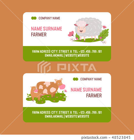 Farm animals vector business-card set domestic farming characters cow sheep goat cattle farmer 48523845