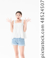 Young lady in casual summer outfits 48524507