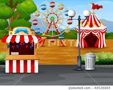 Amusement park with ferris wheel, ticket booth 48526804
