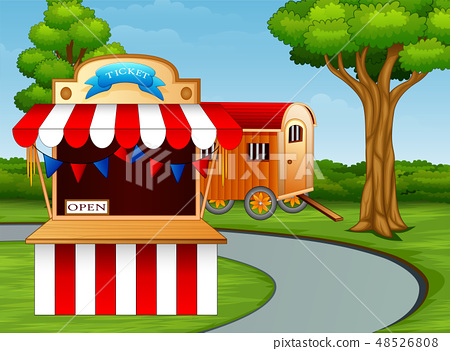 Cartoon of amusement park entrance on the roadside 48526808
