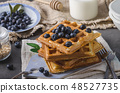 Crispy homemade waffles with berries 48527735
