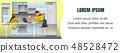 Vector Illustration Flat Banner Mom with Infant. 48528472