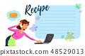 Vector Flat Mom Watching Cake Recipe on Laptop. 48529013