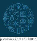 Science and Chemistry vector round blue outline illustration 48530015