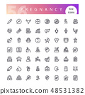 Pregnancy Line Icons Set 48531382