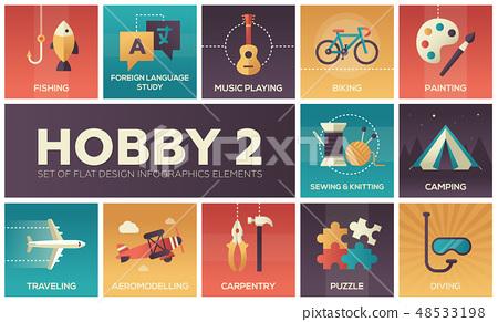 Hobby - set of flat design infographics elements 48533198