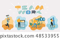 Friendly men and women work. 48533955