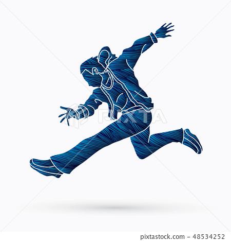 Street Dance, Dancer action Man dance vector 48534252