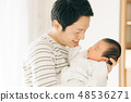 A young dad that holds a baby child care child rearing male 48536271