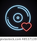 Realistic bright neon vinyl sign. Glowing music symbol. Favorite song. Club, record, disco, dance 48537139