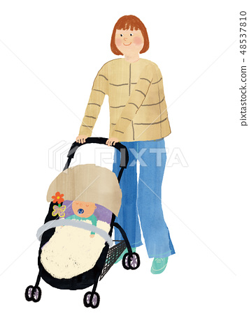 Baby stroller and mama and baby 48537810