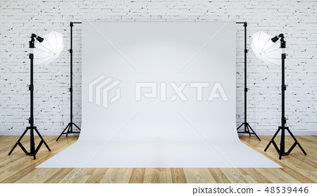 Photo studio lighting set up with white backdrop 48539446