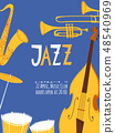 Vector jazz poster with musical instruments and text 48540969