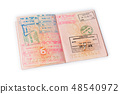 Passport with customs stamps 48540972