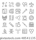 Vector set of Chemical outline icons. Chemistry concept signs 48541135