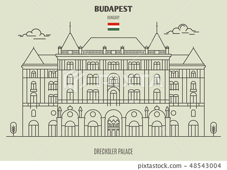 Drexhsler Palace in Budapest, Hungary - Stock Illustration