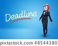 Staggering businessman with melting clock instead of head and DEADLINE sign on blue background 48544380