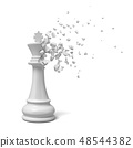 3d rendering of white king chesspiece starting to dissolve into pieces on white background. 48544382