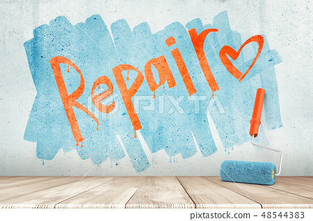 3d rendering of a wall with the word 'Repair' and a heart on it and a paint roller against the wall. 48544383