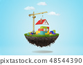 3d rendering of a building crane putting a roof on lego house on a piece of land in the air on blue 48544390