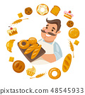 Cartoon male smiling character holding bred with differends bread icons around 48545933
