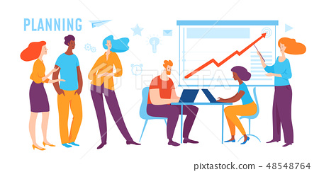 Vector concept business illustration of people do planning.  48548764
