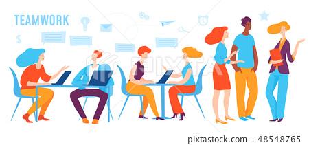 Vector concept business illustration people doing teamwork 48548765