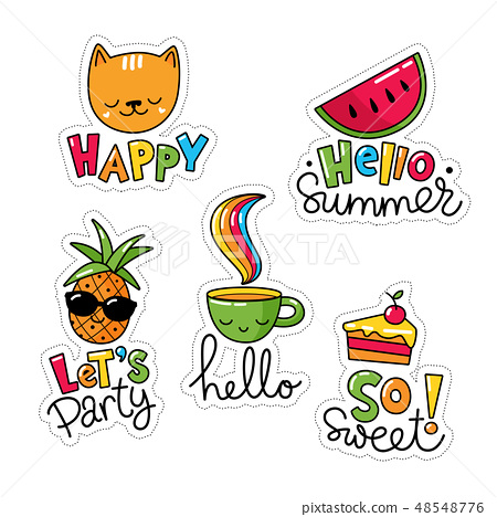 Set of cool stickers, patches with food and summer elements.  48548776