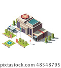 Vector 3d isometric hospital, ambulance with parking 48548795