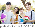 portrait of  Asian college students on campus 48554231
